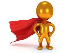 Brave gold superhero with red cloak Stock Illustration
