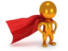 Brave gold superhero with red cloak - stock illustration