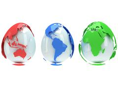 Earth planet globes like eggs. 3D render. Stock Illustration