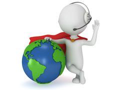 Brave superhero in headpones and world sphere Stock Illustration