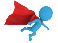 Stock Illustration of 3d brave superhero with red cloak flying