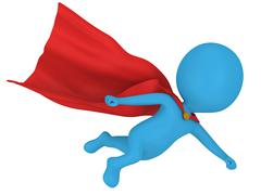 3d brave superhero with red cloak flying Stock Illustration