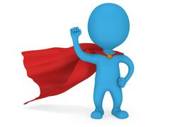 3d man brave superhero with red cloak - stock illustration