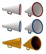 Stock Illustration of Set of vintage megaphone isolated on white.