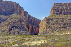 Narrow Canyon in a Desert Escarpment Stock Photos