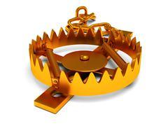 Metal animal trap isolated on white - stock illustration