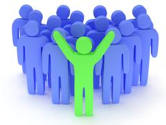 Group of stylized blue people with teamleader - stock illustration