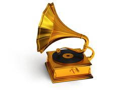 3d gold vintage gramophone isolated on white Stock Illustration