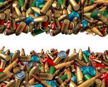 Bullet Ammunition Border - stock illustration