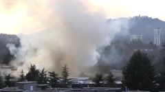 Apartment complex fire in British Columbia Canada Stock Footage