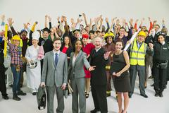 Portrait of enthusiastic workforce - stock photo