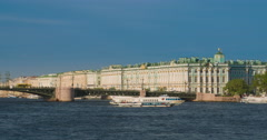 View Winter Palace in Saint Petersburg from Neva river. Russia Stock Footage
