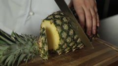 Chopping Pineapple  Stock Footage