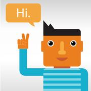 Man greeting and saying Hi Stock Illustration