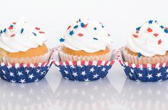 Row of patriotic cupcakes - stock photo