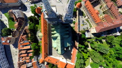 Aerial view of central Zagreb and cathedral. Stock Footage