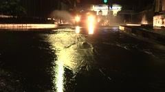 Night traffic driving in heavy rain Stock Footage