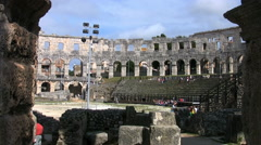 Roman amphitheater in Pula - stock footage