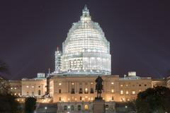 Capitol Building at Night Construction - Washington, D.C. - stock photo