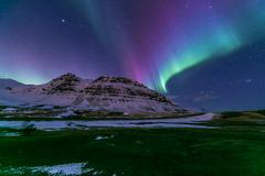 Northern Light Aurora Iceland - stock photo