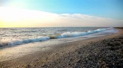 Winter beach at sunset Stock Footage