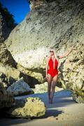 Young Woman in Bikini in Tropical Island - stock photo