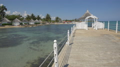 Pontoon with pavilion on the Caribbean Sea in Jamaica Stock Footage