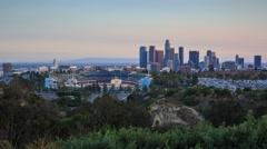 Scenic view downtown Los Angeles skyline Dodger Stadium 4K UHD hyperlapse Stock Footage