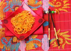 amatriciana spaghetti - stock photo