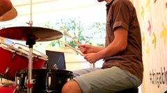 Man play drum set on a stage Stock Footage
