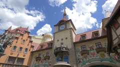The German Clock Tower at the Walt Disney World Resort, Orlando Stock Footage