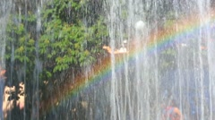 Real rainbow in urban fountain in park. Stock Footage