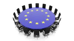 Round meeting room table with European Unions flag isolated on white - stock illustration