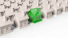 Stock Illustration of House models rows with one green standing out with copy-space