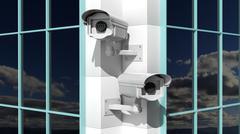 Two security surveillance cameras on skyscraper building - stock illustration