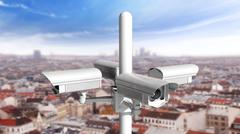 Security surveillance cameras watching in every direction above city Stock Illustration