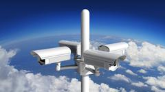 Stock Illustration of Security surveillance camera with blue sky background