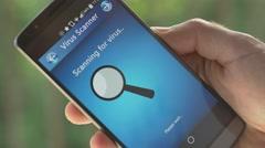 4K Smartphone Virus Scanner Application Searching - stock footage