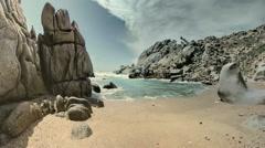 Granite Rock Sand Beach Capo Testa Sardinia Italy - 25FPS PAL Stock Footage