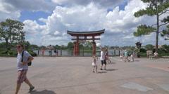 Red torii gate at Walt Disney World Resort, Orlando Stock Footage