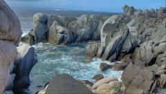 Mistral Formed Granite Rock Coast Bay Capo Testa Sardinia Italy - 29,97FPS NTSC Stock Footage