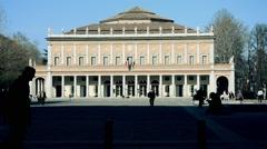 Opera House and street, Reggio Emilia Stock Footage