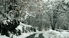 Snow Road offroad car Stock Footage