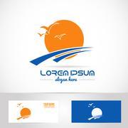 Sun logo tourism holiday travel agency - stock illustration