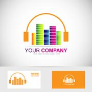 Music headphones volume logo Stock Illustration