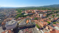 Aerial view of central Zagreb, with mount Medvednica in background. Stock Footage