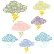 Cloud and thunder line art colorful Stock Illustration
