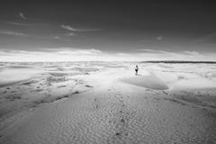 Girl on the desert - stock photo