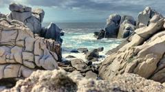 Mistral Formed Granite Rock Sea Coast Capo Testa Sardinia Italy - 29,97FPS NTSC Stock Footage