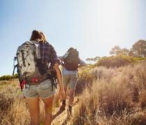 Hikers walking through mountain trial - stock photo